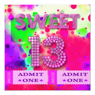 13th Sweet 13 Birthday Party Tickets Fun Card