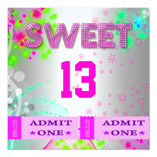 13th Sweet 13 Birthday Party Tickets Fun Custom Announcements