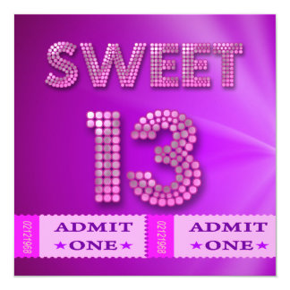 13th Sweet 13 Birthday Party Tickets Fun Personalized Invitations