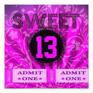 13th Sweet 13 Birthday Party Tickets Fun Invitation