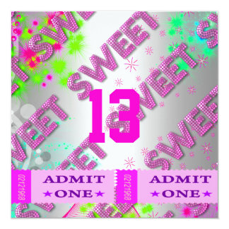 13th Sweet 13 Birthday Party Tickets Fun Announcement