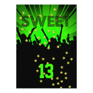 13th Sweet 13 Birthday Party Tickets Lime Card