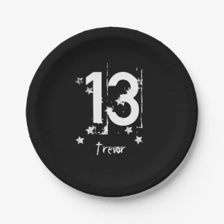 13th Teen Birthday Grunge Letters Stars C13Z1 Paper Plate