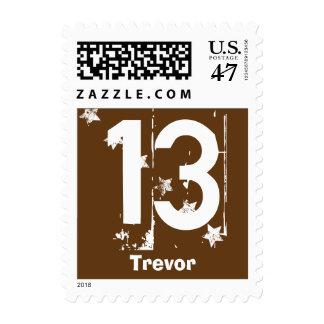 13th Teen Birthday Grunge Letters Stars C13Z Postage