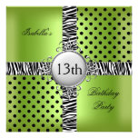 13th Teen Birthday Party Lime Green Black Zebra Custom Invites
