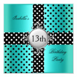 13th Teen Birthday Party Teal Blue Black Polka Dot 5.25x5.25 Square Paper Invitation Card