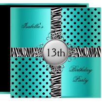 13th Teen Birthday Party Teal Blue Black Zebra Invitation