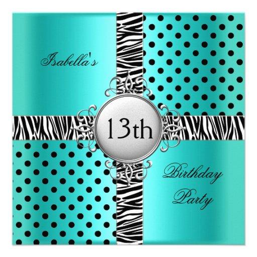 3Th Teen Birthday Party Teal Blue Black Zebra Invitation
