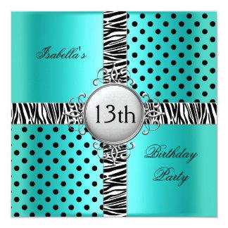 "13th Teen Birthday Party Teal Blue Black Zebra 5.25"" Square Invitation Card"