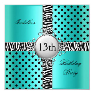 13th Teen Birthday Party Teal Blue Black Zebra 5.25x5.25 Square Paper Invitation Card
