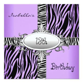 13th Teen Birthday Zebra Wild Purple Animal Black Card