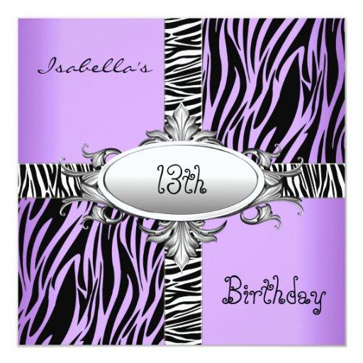 "13th Teen Birthday Zebra Wild Purple Animal Black 5.25"" Square Invitation Card"