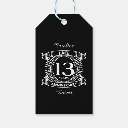 13th Wedding Anniversary Lace Gift Tags Zazzle
