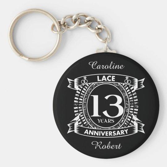 13th Wedding Anniversary Lace Keychain Zazzle