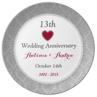 13th Wedding Anniversary Silver Damask W10C Porcelain Plate