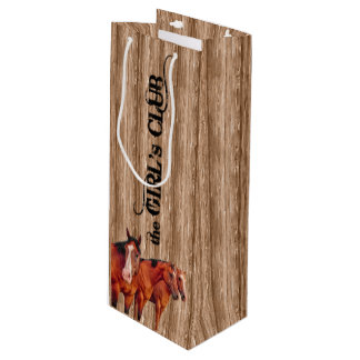 13x4-in Girls Club for Cowgirls Western Wine Gift Bag