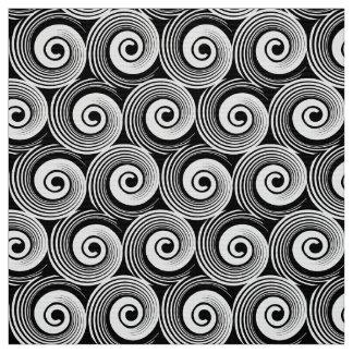 140216 Spirals - White on Black Fabric