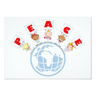 1407 Cartoon Different-Nationalities Stick kids Gr Personalized Invites