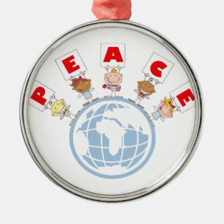 1407 Cartoon Different-Nationalities Stick kids Gr Ornament