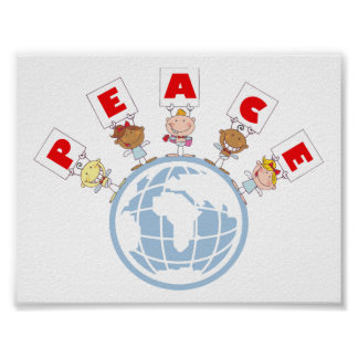 1407 Cartoon Different-Nationalities Stick kids Gr Poster