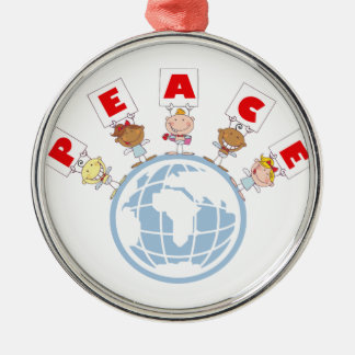 1407 Cartoon Different-Nationalities Stick kids Gr Round Metal Christmas Ornament