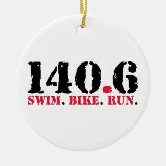 140.6 Swim Bike Run Ceramic Ornament