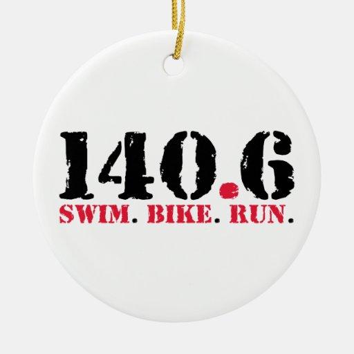 140.6 Swim Bike Run Christmas Ornament