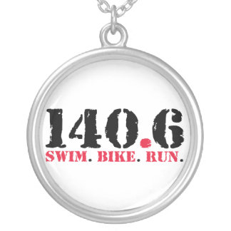 140.6 Swim Bike Run Silver Plated Necklace