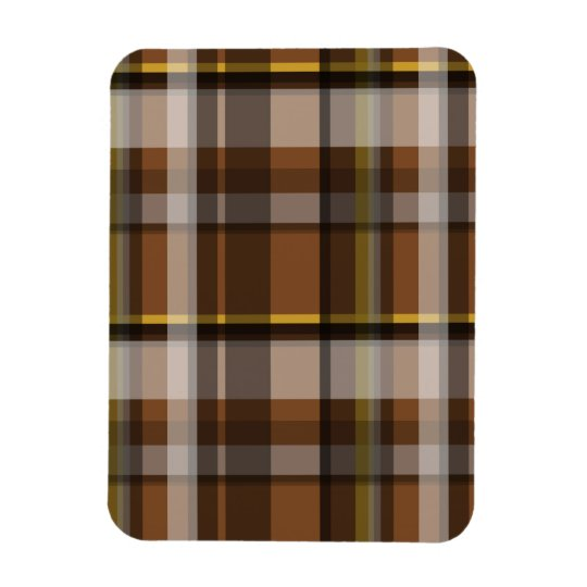 140 BROWN YELLOW PLAID PATTERN TEMPLATE COZY FALL MAGNET