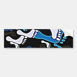 140 GROOVY BLUE BLACK WHITE FOOTSTEPS PATTERN BACK BUMPER STICKER