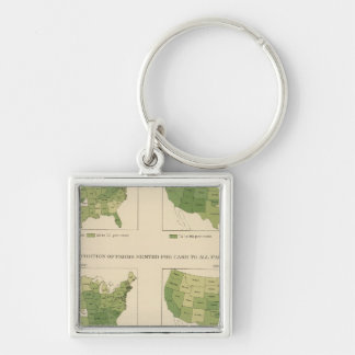 140 Proportion farms owned, rented Silver-Colored Square Keychain