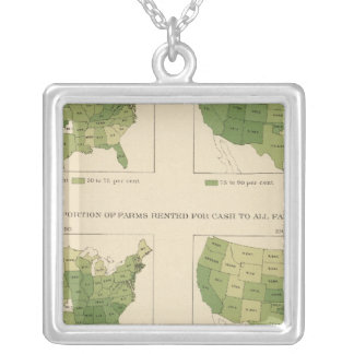 140 Proportion farms owned, rented Square Pendant Necklace