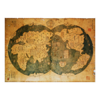 1418 Chinese World Map by Gavin Menzies Poster