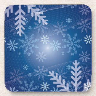 14350 snowflakes snowy blue background drink coaster