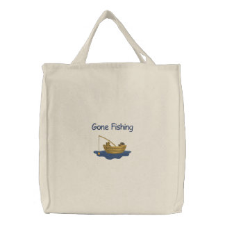 143561 Recolor, Gone Fishing Embroidered Tote Bag