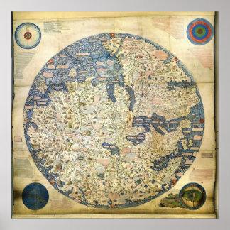 1450 World Map by Venetian Monk Fra Mauro Print