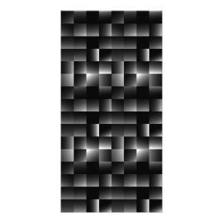 146 BLACK GREY SHINY SQUARES MODERN STEEL NIGHT PA CARD