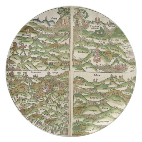Oldest Known World Map.1475 Oldest Known Woodcut World Map Melamine Plate Zazzle Com