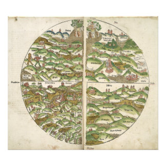 1475 Oldest Known Woodcut World Map Photo Print