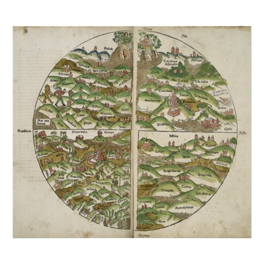 Oldest Known World Map.1475 Oldest Known Woodcut World Map Poster Zazzle Com