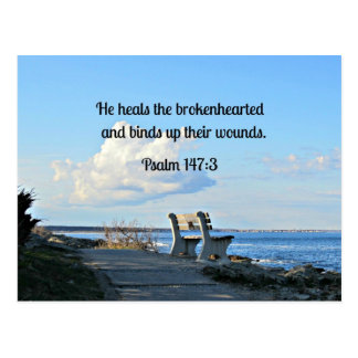 147:3 del salmo él cura el brokenhearted… postales