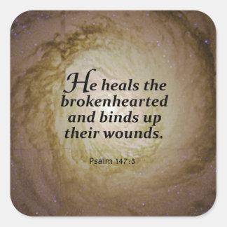 147:3 del salmo pegatina cuadrada