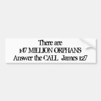 147 millones de huérfanos etiqueta de parachoque