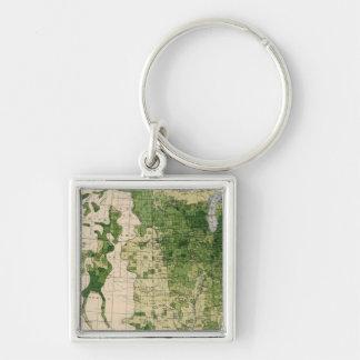 148 Sheep/sq mile Silver-Colored Square Keychain