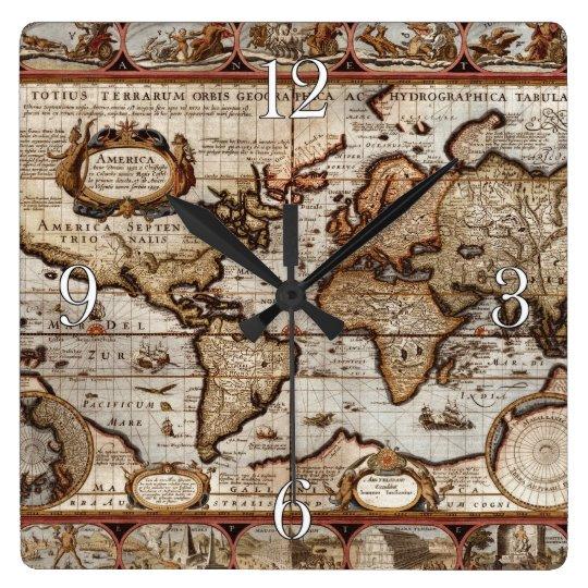 1499 Old World Map Antique History Designer Clock