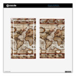 1499 Old World Map Device Skin Decals For Kindle Fire