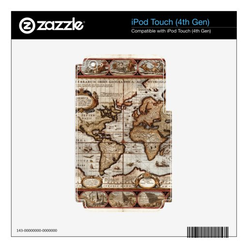 1499 Old World Map Device Skin Decals For iPod Touch 4G