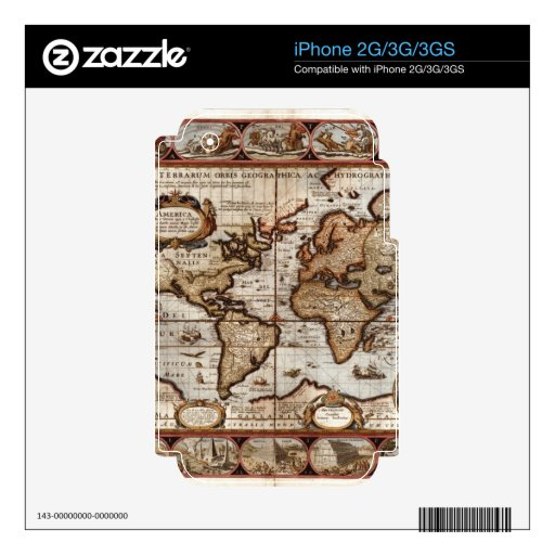 1499 Old World Map Device Skin Decal For The iPhone 3G