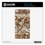 1499 Old World Map Device Skin Skins For iPhone 4