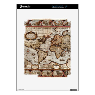 1499 World Map w The Americas device protector Decals For The iPad 2